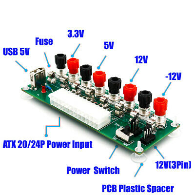20/24Pins Benchtop Power Board PC Breakout Adapter Switch Module Welcome • 7.67£