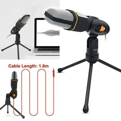 3.5mm USB Microphone Mic  Tripod Stand Condenser Recording StudioFor PC Phone UK • 10.14£