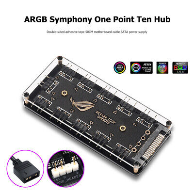 10 ARGB Fan HUB SATA Power 5V 3PIN Extension Splitter For PC Computer Desktop UK • 6.31£