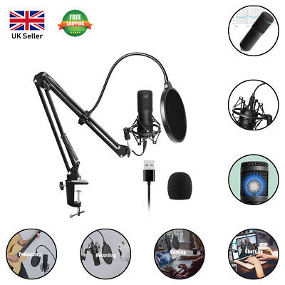 USB Streaming Podcast PC Microphone Professional Studio Cardioid Condenser • 24.99£