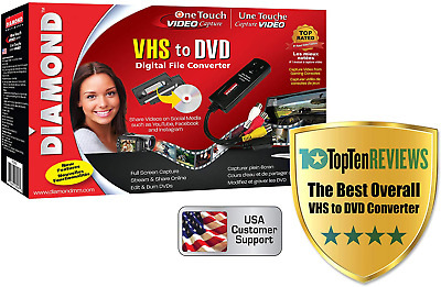Diamond VC500 USB 2.0 One Touch VHS To DVD Video Capture Device Win7 8 10 Mac • 48.99£