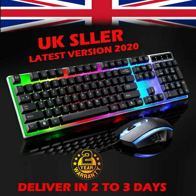 Gaming Keyboard Mouse Set Rainbow LED Wired USB For PC Laptop PS4 Xbox One 360-- • 13.99£