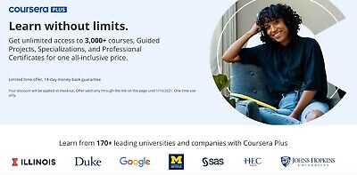 Coursera Plus Annual Subscription (One Year Warranty) IncludesSpecializations • 44.99£