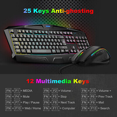 TECKNET RGB Gaming Keyboard Mouse Set Rainbow LED Wired USB For PC Laptop Gamer • 18.49£
