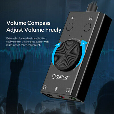 ORICO USB External Audio Stereo Sound Card Adapter Microphone Jack For PC Laptop • 9.89£