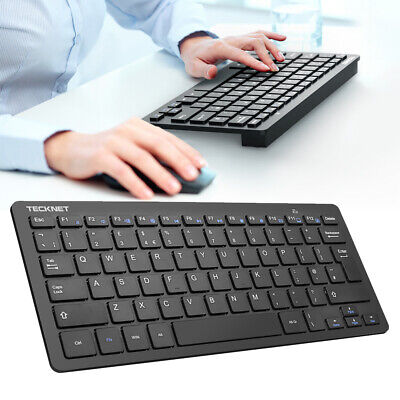 TECKNET Ultra Thin UK QWERTY 2.4GHz Wireless Keyboard With USB For PC Laptop Mac • 12.99£