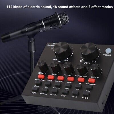 V8 Audio External USB Headset Mic Webcast Live Sound Card For Phone Computer PC • 18.79£
