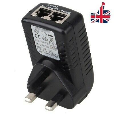 POE Power Supply 48V 0.5A Injector Adapter Over Ethernet Wall Plug - UK STOCK • 10.78£