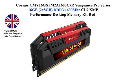 Corsair Vengeance Pro Series 16GB (2 X 8GB) DDR3 DRAM 1600MHz CL9 XMP Memory Kit • 59£