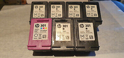 HP 301 7 X USED INK CARTRIDGES NEVER FILLED 1 COLOUR 6 BLACK EXP DATES BELOW • 0.99£