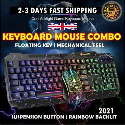 Gaming Keyboard LED USB Wired Backlight Mechanical And Mouse Set For Laptop - PC • 14.99£