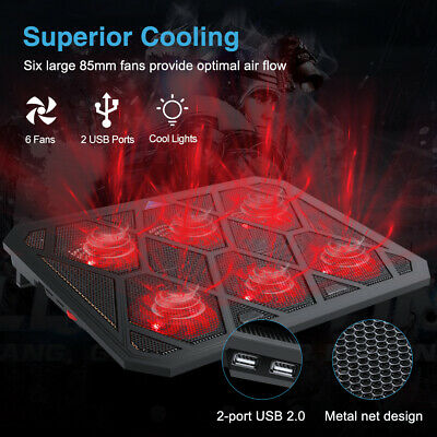 Powerful Laptop Cooler 12-19 Inch 6 Quiet Fans Gaming Cooling Mat Pad Stand Tilt • 18.99£