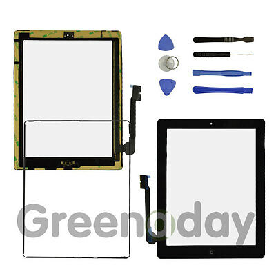 FOR IPAD 3/4 BLACK REPLACEMENT SCREEN TOUCH DIGITIZER+MID FRAME BEZEL&HomeButton • 8.92£
