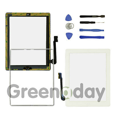 FOR IPAD 3/4 WHITE REPLACEMENT SCREEN TOUCH DIGITIZER+MID FRAME BEZEL&HomeButton • 7.92£