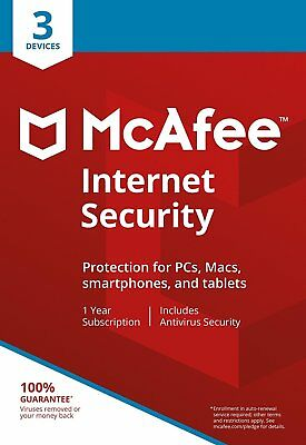 McAfee Internet Security 2020 Anti Virus Software 1 Year Licence 3 Users/PC NEW • 4.95£