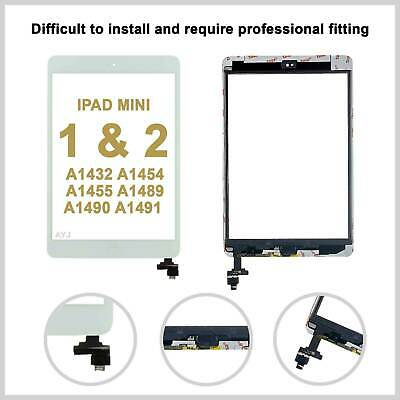 White Screen Digitizer For IPad Mini Replacement 1/2 Touch Glass IC Home Button • 8.99£