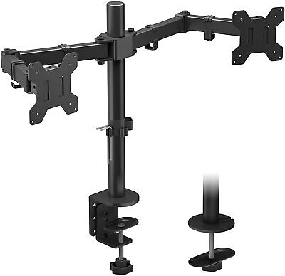 Double Twin Arm Desk Mount Monitor Screen Ergonomic Tilt Swivel Rotation 15 -32  • 21.99£