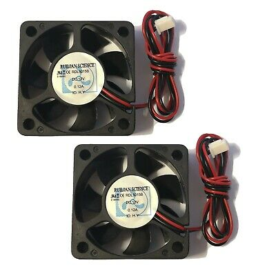 Cooling Fan  PC 2 Pin 50mm X 50mm X 15mm 12v 0.12a Pack Of 2 • 5.99£
