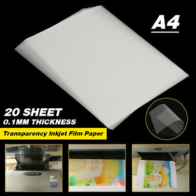 20 Sheets Clear A4 Inkjet Label Transparency Film Paper Screen Printing Paper  • 6.63£