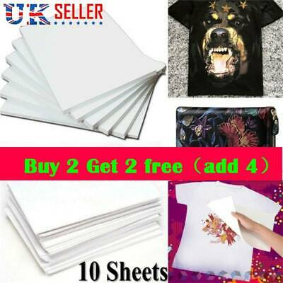 10PCS A4 Heat Transfer Iron-On Paper For Light & Dark Fabric Cloth T-shirt DIY • 3.56£