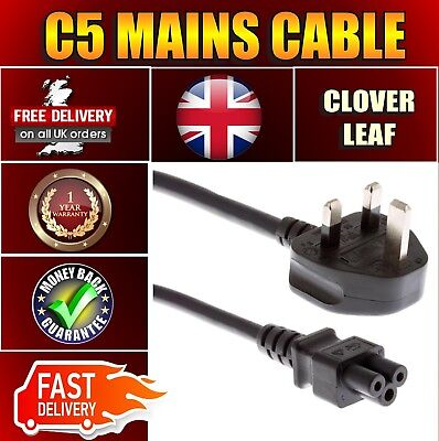 UK Mains Lead With Fuse C5 Cloverleaf Laptop Power Cable 3 Pin  • 3.99£