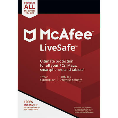 McAfee LiveSafe 2019/2020 Download 1 Year Unlimited Devices Code Emailed NEW • 12.99£
