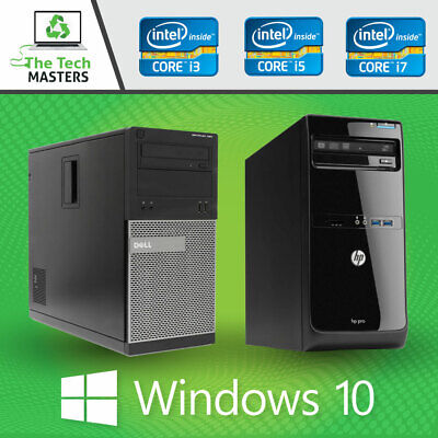Dell/HP Intel I3 Dual Core / I5 Quad Core Desktop Full Sized Tower PC Windows 10 • 59.95£