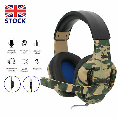 3.5mm Gaming Headset W/ MIC Headphones For PC Switch Laptop PS4 PS3 Xbox One UK • 11.39£