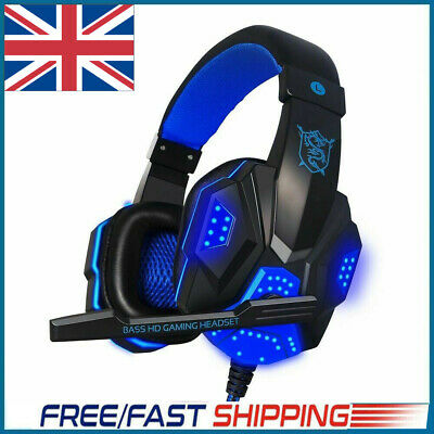 3.5mm Stereo Gaming Headset Headphones Earphone For PS4 Wired With Microphone • 9.60£