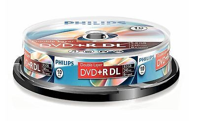 10 Philips DVD+R DUAL LAYER Blank Recordable DVD Discs 240 Mins 8.5GB • 9.52£
