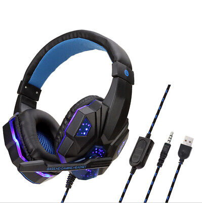 3.5mm Gaming Headset MIC LED Headphones For PC SW Laptop PS4 Slim Xbox One X S • 18.70£
