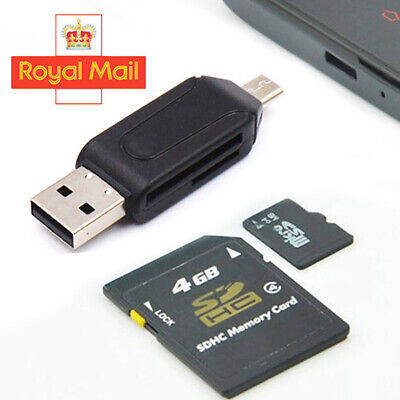 Memory Card Reader Micro USB OTG To USB 2.0 Adapter USB 2.0 SD/Micro SD Cards • 1.98£