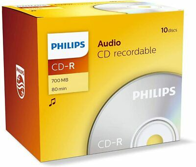 10 Philips CD-R Audio RECORDABLE CD's 10 Pack Jewel Case Blank CD Discs • 9.66£