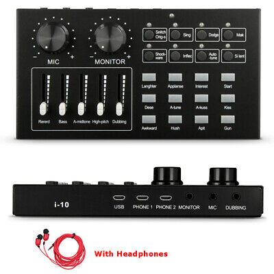 I10 Multifunction External Live Sound Card DSP Audio Chip USB Headset Microphone • 31.80£