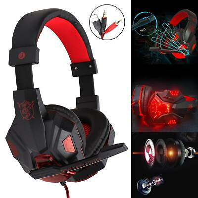 Gaming Headset Headphones Stereo W/ Mic For PC MAC TABLETS • 7.99£