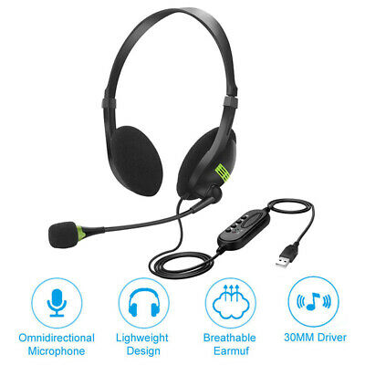 New Upgrade USB Headset With Microphone Noise Cancelling PC Headset Lightweight • 9.99£