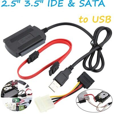 SATA/PATA/IDE To USB 2.0 Adapter Converter Cable For 2.5/3.5 Hard Disk Drive DVD • 4.95£