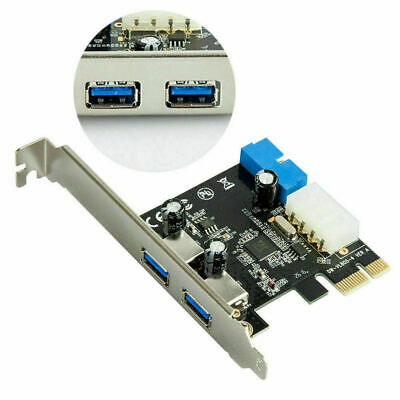 2 Ports PCI-E USB 3.0 With 4 Pin Molex And 19Pin 20Pin PCI Express Card Adapter • 7.49£