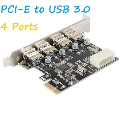 4Port PCI-E To USB 3.0 PCI Express Expansion Card Adapter Hub VIA 5Gbps • 7.48£