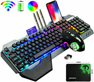 Wireless Gaming Keyboard And Mouse Rainbow LED Backlit Rechargeable Set Mice Pad • 42.99£