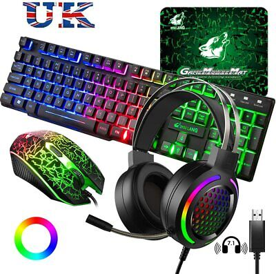 UK Layout Gaming Keyboard Headset & Mouse Set, Rainbow Backlit  For PC PS4 XBox • 37.99£