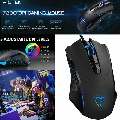 Razor Rainbow RGB LED Gaming Mouse USB Wired Programmable 7 Button Mice Gamer • 13.69£