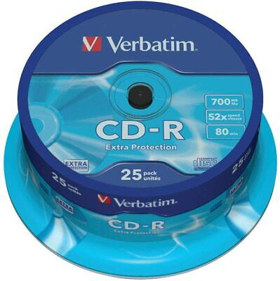 Verbatim CD-R Discs With Extra Protection 25 Spindle Pack, Bulk Pack 25 X CD-R • 7.45£