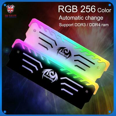 RGB Memory Ram Cooler Vest Anode Heatsink Light Cooling Computer Fin Portable • 10.89£