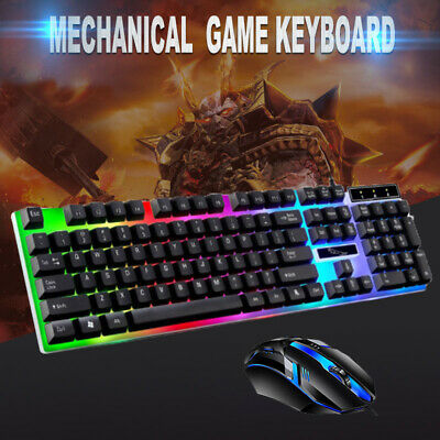 Gaming Keyboard Mouse Set Rainbow LED Wired USB For PC Laptop PS4 Xbox One 360 C • 7.99£