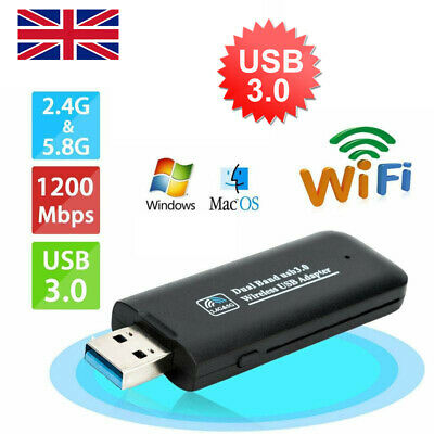 1200Mbps USB 3.0 Dual Band WiFi Dongle 5GHz/2.4G Wireless Network Adapter New • 7.48£