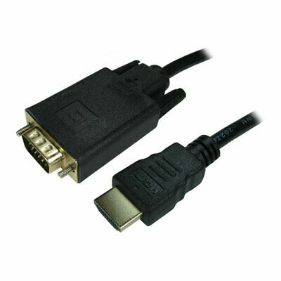 1M Scan HDMI (Male) To VGA (Male) Display Cable, Up To 1920x1080 @ 60hz, Gold Co • 12.48£