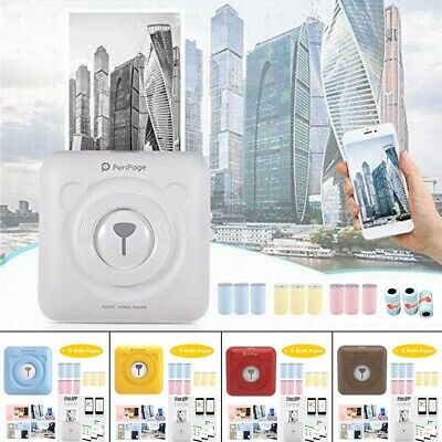 UK PeriPage Portable Mini Pocket Wireless BT Paper Photo Printer +9 Rolls Paper! • 36.37£