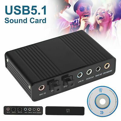 6 Channel 5.1 Optical SPDIF Sound Card USB Audio Output Adapter External For PC • 12.87£