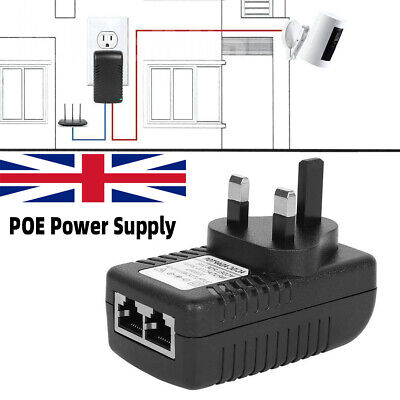 48V 24W POE Power Supply PoE Injector Adapter Power Over Ethernet UK Wall Plug • 5.49£